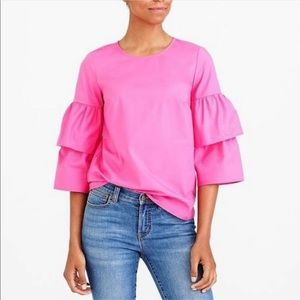 J.Crew Mercantile hot pink tiered bell sleeves top